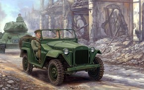 Art, car, tank, soldiers, Soviet GAZ-67B