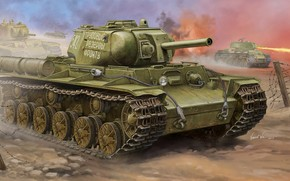 Art, tank, ussr, war, Soviet KV-8S Heavy Tank