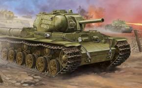 арт, Танк, СССР, Война, Soviet KV-8S Heavy Tank