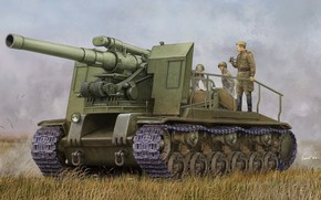 Art, gun, soldiers, Soviet S-51 Self-Propelled Gun