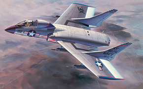 Art, avion, USA, Vought F7U Cutlass