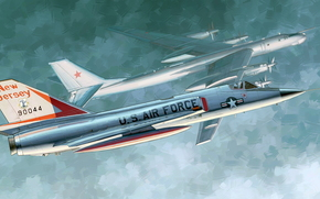 Art, plane, USA, fighter, US F-106A Delta Dart