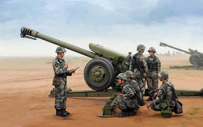 Art, gun, soldiers, Chinese D-30, China D-30