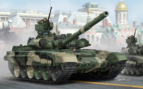 Art, tank, Victory Parade, Russian T-90A