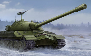 Art, tank, winter, ussr, Soviet IS-7