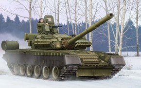Art, tank, winter, Russia, Tank T-80BV