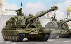 Art, Russia, Victory Parade, MSTA-S self-propelled guns, Russian 2S19 Self-propelled 152mm Howitzer