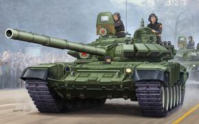 T-72B, MBT, una versión modernizada de la T-72A, armas 9K120 Svir, dinámica, protección, pistola calibre, 125mm, lanzador, instalación, 2A46M, Desfile de la Victoria, Rusia, artista, Vicente Wai