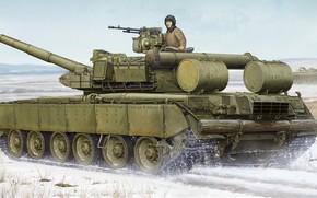 Sztuka, tank, tankowiec, zima, Rosja, T-80 BVD