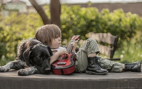 dog, boy, Friends, guitar, boots