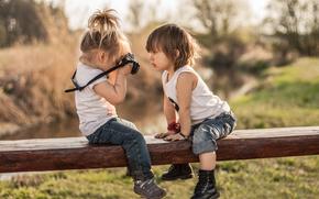 niños, chica, chico, fltograf, cámara