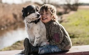мальчик, собака, друзья, радость, настроение