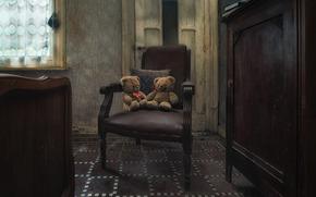 комната, кресло, плюшевые мишки, игрушки