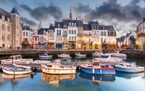 Le Croisic, France, Le Croisic, France, harbor, berth, Boat, boats, embankment, building