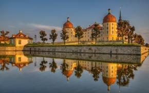 Castello di Moritzburg, Moritzburg, Sassonia, Germania, Castello di Moritzburg, Moritzburg, Sassonia, Germania, castello, riflessione, acqua