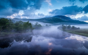 Afon Glaslyn, Galles, inghilterra, Fiume Glaslin, Galles, Inghilterra, fiume, Montagne, Colline, nebbia, mattinata
