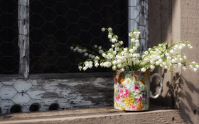 Lily of the valley, mug, window