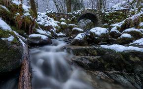 Fairy Bridge, Glen Creran, Scotland, Шотландия, мост, речка, лес, камни, снег
