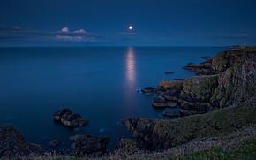 St Abbs, Scottish Borders, Scotland, North sea, St Abbs, Scottish Borders, Scotland, North Sea, sea, water surface, Rocks, coast, moon