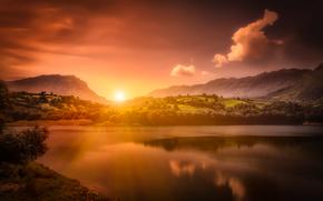 Alfilorios Wściekłe, Asturia, Hiszpania, Asturia, Hiszpania, zbiornik, zachód słońca, Góry