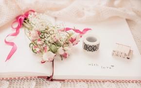 Flowers, bouquet, Roses, notebook, inscription, Vintage