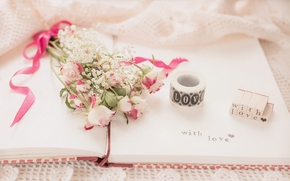цветы, букет, розы, тетрадь, надпись, винтаж