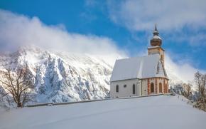 Dienten am Hochkonig, Alpes, Áustria, Dienten, Alpes, Áustria, Montanhas, inverno, neve, igreja