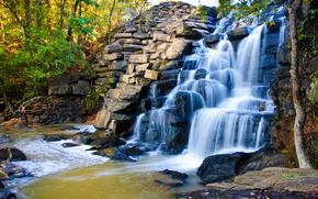 речка, волопад, камни, деревья, природа