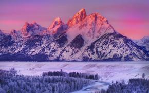 Grand Teton National Park, Wyoming, zachód słońca, Góry, rzeka, las, drzew, zima, krajobraz