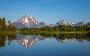 Snake River, Monte Moran, Parque Nacional Grand Teton, Wyoming, Montañas Rocosas, Snake River, Monte Moran, Parque Nacional Grand Teton, Wyoming, Los Rockies, río, Montañas, vértices, bosque, reflexión