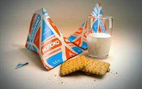СССР, молоко, стакан, печенье, еда