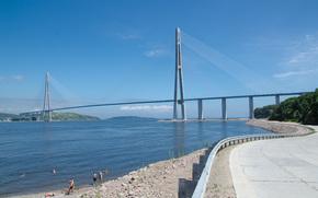 Россия, Владивосток, мост, дорога, небо