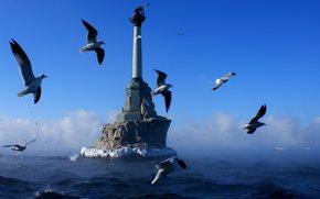 Russia, Crimea, Sevastopol, monumento, Navi passeggere, gabbiano, mare, cielo