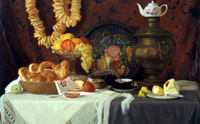 painting, picture, samovar, tea, fruit, apple, pear, grapes, Lemon, orange, drying, baking, tray, spoon, tablecloth, kettle