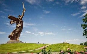 россия, волгоград, родина-мать, ссср, монумент, статуя, памятник, мамаев курган, город, меч, небо