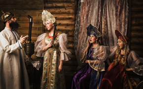 три девицы, встреча, царь, сказка, Пушкин
