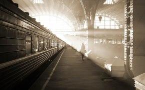 railway station, train, car