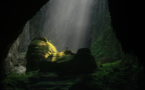Vietnam, cave, Rocks, light, man, nature