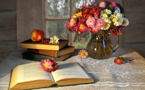 book, pitcher, Flowers, apple, window, table