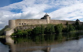 Russia, river, fortress, city, Ivangorod