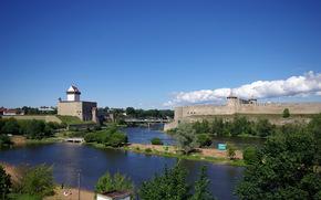 Russia, cielo, Estonia, fiume, fortezza, Ivangorod, Narva