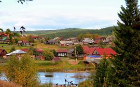 Rosja, dom, rzeka, wieś