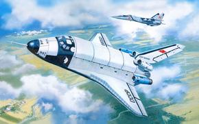 буран, советский, космический, корабль, челнок, СССР, самолёт, миг