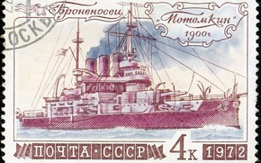 Post Office, stamp, ussr, armadillo, Potemkin, ship