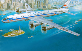 Tu-114, Soviet, turboprop, Passenger, plane, aeroflot, ussr, aviation, city, New York, drawing