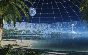space, land, moon, lake, beach, coast, Mountains, Rocks, Crater, planet, Satellite