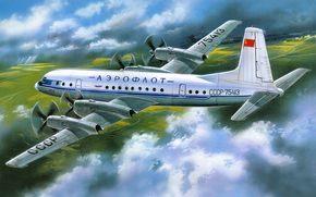 рисунок, самолет, Ил-18, Ильюшин, аэрофлот, пассажирский, СССР