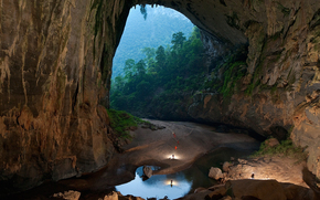 nature, cave, Mountains, Rocks, forest, sand, water, people, Vietnam