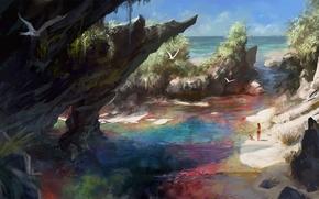 море, пляж, скалы, чайка, рисунок
