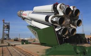 foguete, Próton, M, URSS, Rússia, motor, Casa, área, Spaceport, Baikonur, Cazaquistão, céu, pessoas